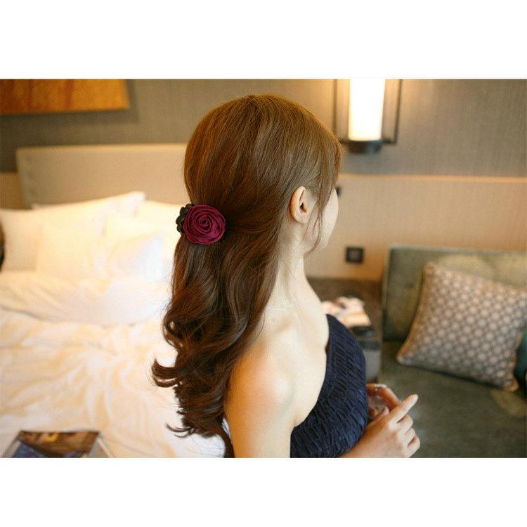 HOT 120PCS Fashion Girls Women Korea style hairpin cotton Rose Flower Bow Hair Claw Jaw Clip Clamp Barrette Big Flower Hair Accessories