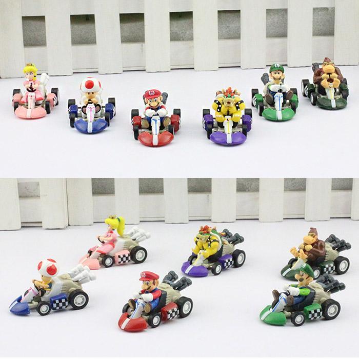Super Mario Bros Kart PULL BACK Car Figures Children's Gift Sets Plastic Toys 6pcs/set Free shipping