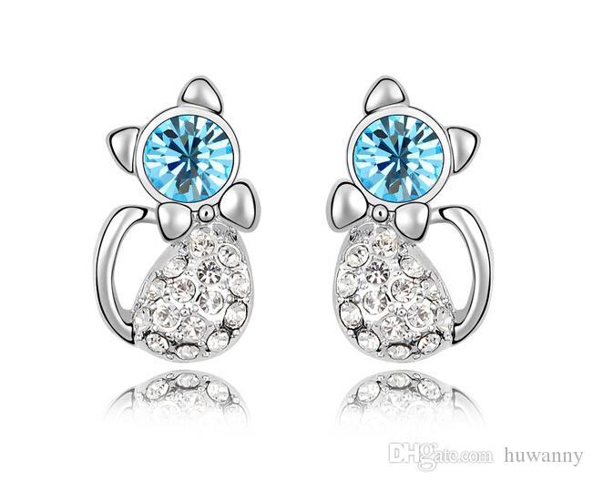 Silver Stud Kolczyki Gorąca Sprzedaż Kryształ Cat Kolczyki Dla Kobiet Dziewczyna Party Moda Biżuteria Hurtownie Darmowa Wysyłka 0023LDE