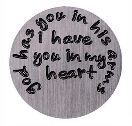 الجملة 10 قطعة / الوحدة الله لك في ذراعيه لدي لك في قلبي المقاوم للصدأ العائمة نافذة لوحات ل 30 ملليمتر الزجاج المنجد