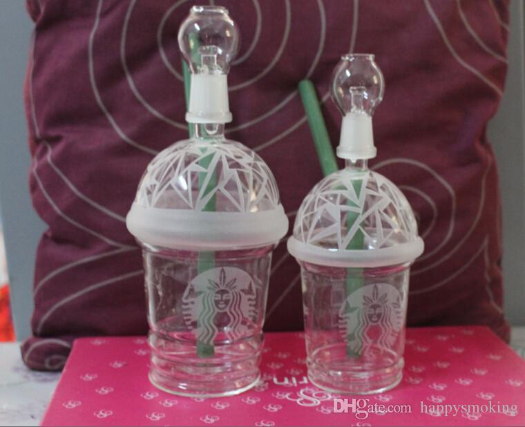 Più nuovo Dabuccino Cup Rig Vetro Sabbiato Starbuck Cup Dab Concentrato Oil Rig HITMAN GLASS DABUCCINO X EVOL Bong Pipa ad acqua Fimble Leaf