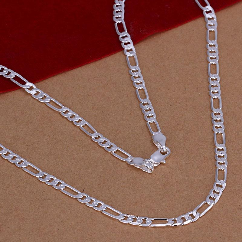 4MM Figaro chain necklace 16-30inches 925 sterling silver fashion jewelry for men Top quality factory price free shipping