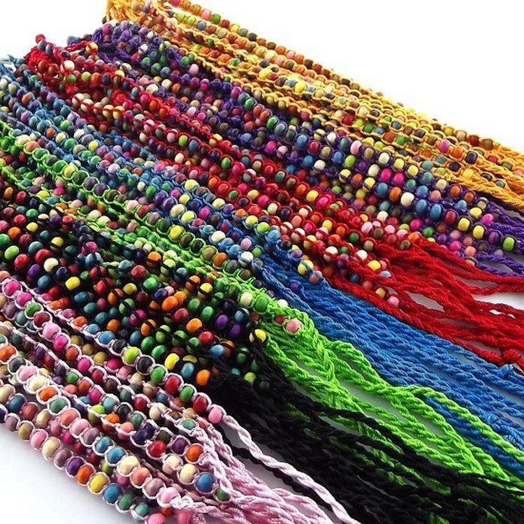 Pure hand geweven polyester draad touw rond de houten kralen kleurrijke hand touw draak boot festival armband vriendschap armband