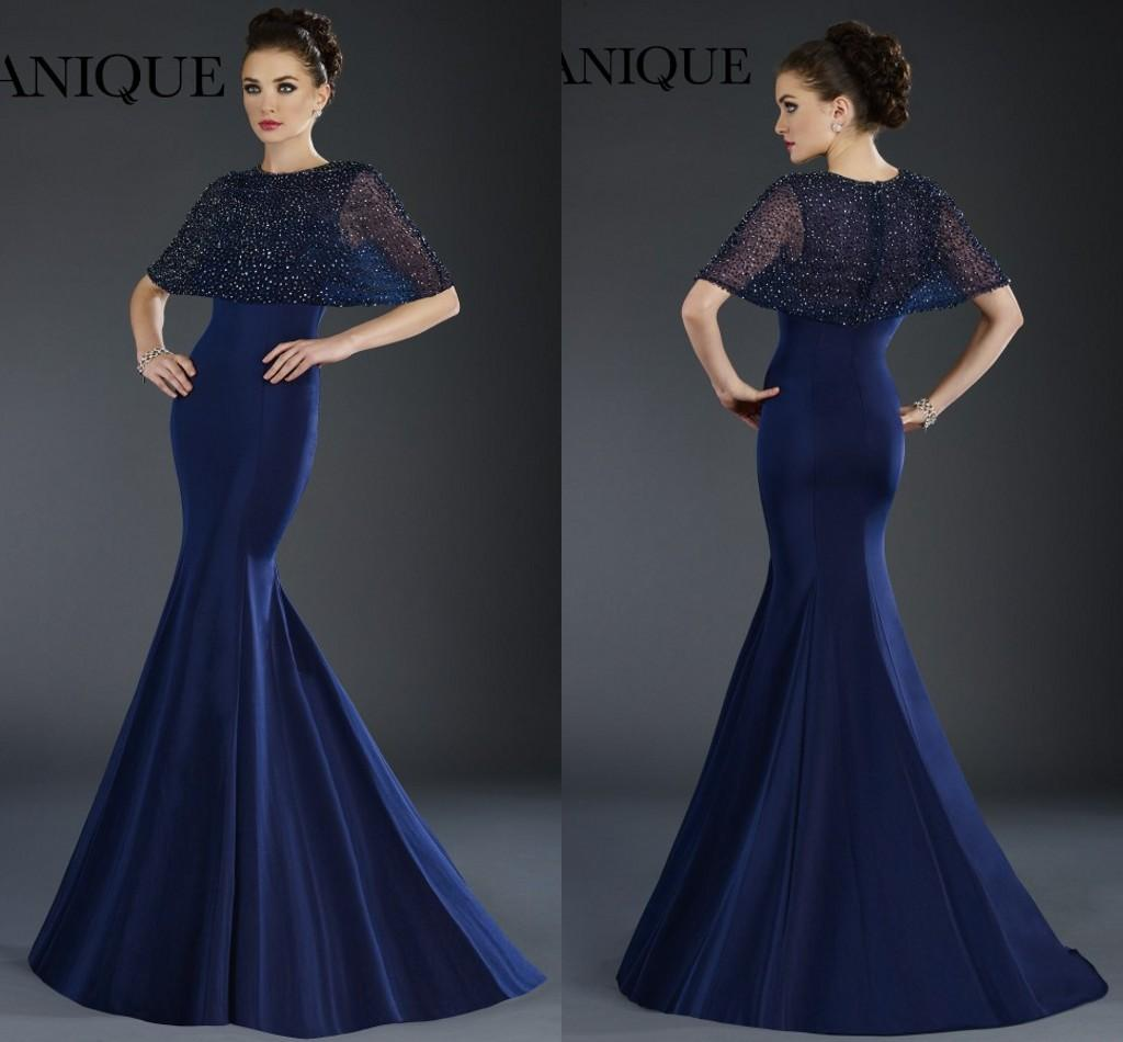 Well known Janique 2016 Navy Blue Evening Dresses Sexy Jewel Beaded Cape  GR25