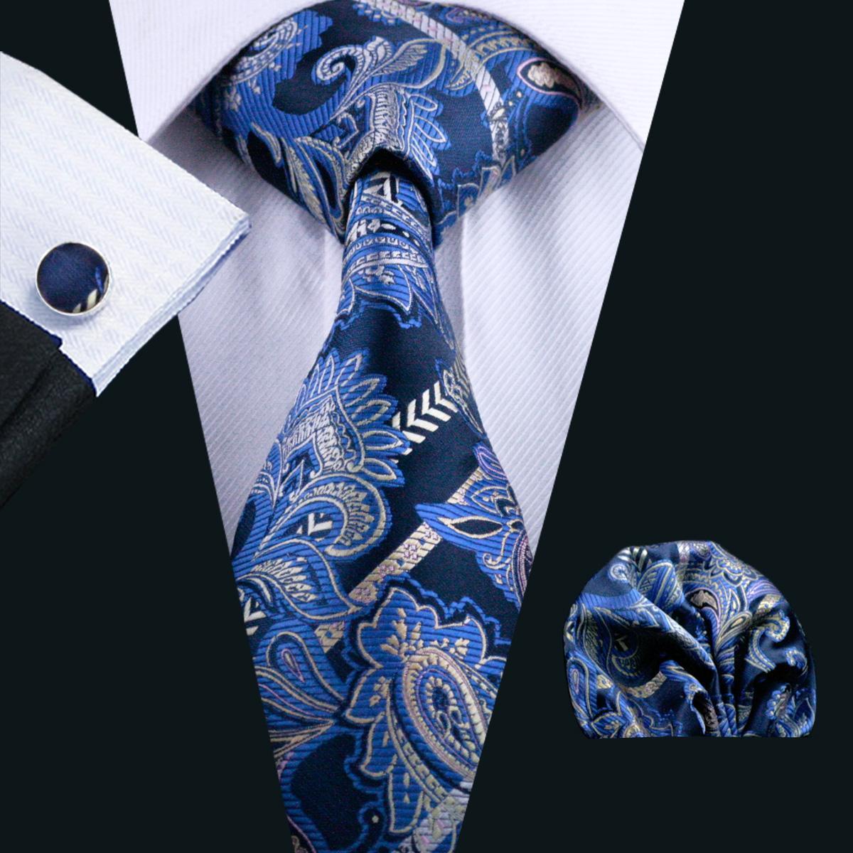 Stropdas Hankerchief Manchetknopen Set Blauw Paisely Jacquard Woven Mens Tie Set Bedrijfswerk Formele Bruiloft N-0613