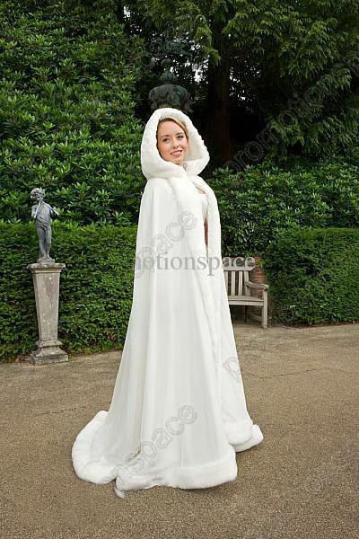 도매 - 머플러와 함께 가짜 모피 목도리 겨울 신부의 케이프 크리스마스 망토 재킷은 겨울 결혼식을 위해 완벽하게 두건을 묶었습니다 신부의 아바야 웨딩