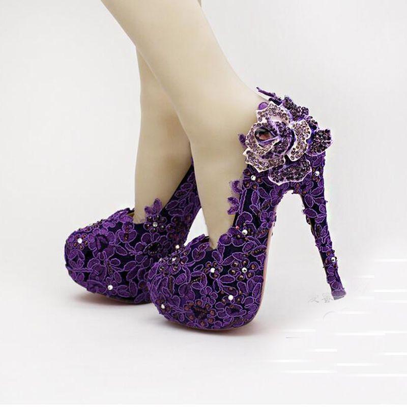 High Heel Fashion Fower Rhinestone Bridal Shoes Purple Lace Wedding Shoes Beautiful Platform Crystal High Quality Women Pumps Bridal Flats Bridal