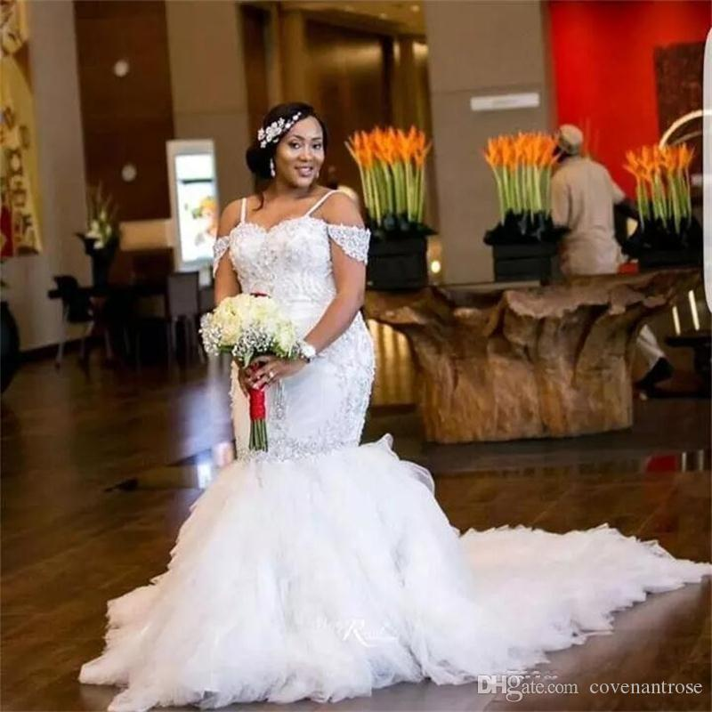 Arabic Plus Size Wedding Dresses Spaghetti Straps Lace Appliques Bead  Capped African Mermaid Wedding Dress Tiered Tulle Long Bridal Gowns Cheap  Bridal ...