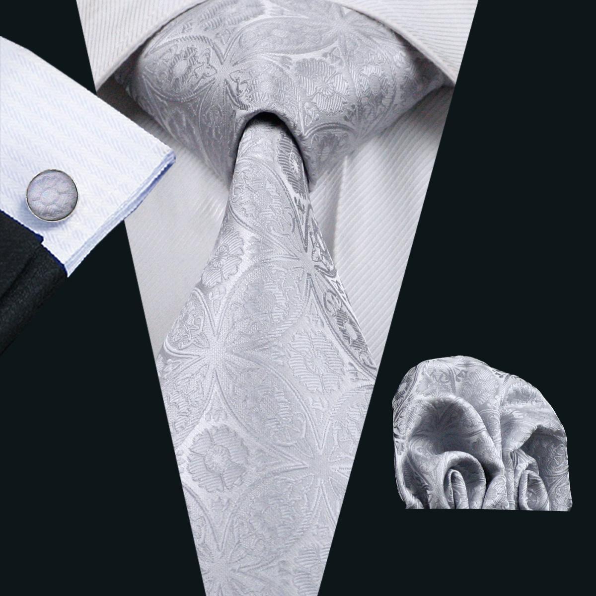 회색 꽃 망 실크 넥타이 포켓 스퀘어 커프스 단추 넥타이 세트 자카드 직물 공식적인 작업 회의 레저 N-0628