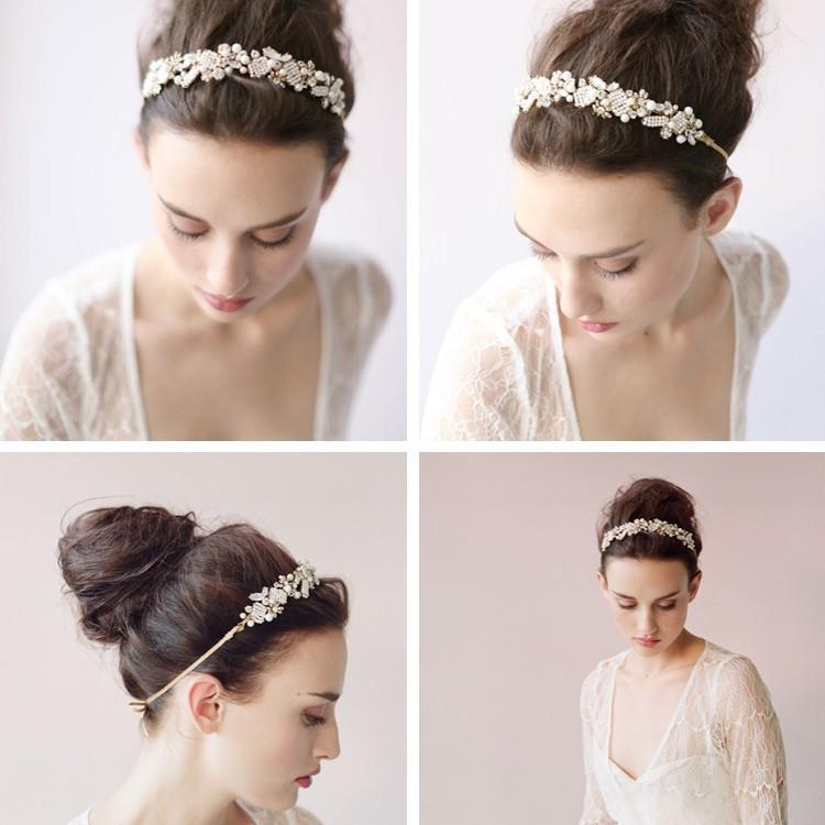 Beading Pearls Bridal Headpiece Headbands Crystals Tiaras New Arrival Sparkle Bridal Tiara Hair Crown Rhinestones Wedding Accessories