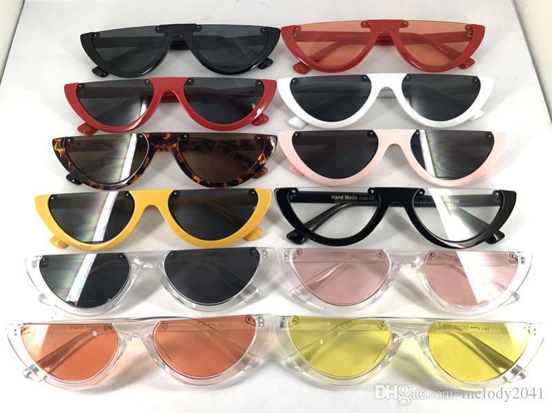 Cool Vintage Cat Eye Sunglasses Semi-Rimless Fashion Cateye Women Sun Glasses 12 Colors Metal Hinge Wholesale Eyewea