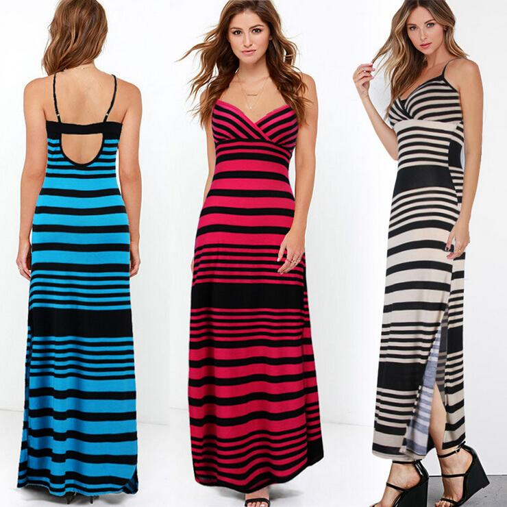 Europe Station 2016 Summer Women Clothes Sexy Sling Halter Dress Fashion Strapless Stripe Long Beach Dresses Maxi Casual Dresses for Womens