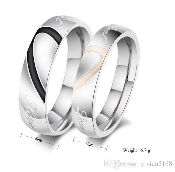 Assez Vente en gros Pour Anneaux couple Bijoux coréenne New Black Gold  WC27