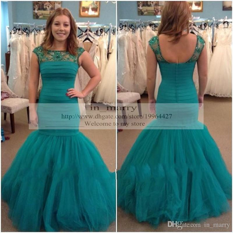 Emerald Green Turquoise Sexy Evening Dresses Prom Gowns 2015 Mermaid
