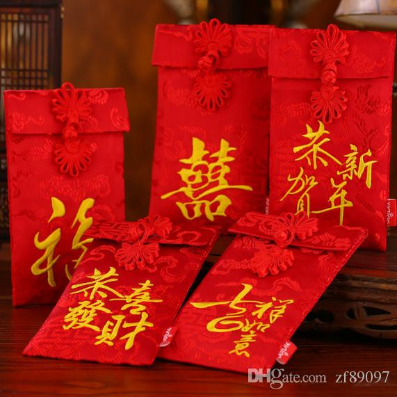 9.8x17cm enveloppe rouge enveloppe de mariage rouge enveloppe de paquet rouge en tissu sac de fête de mariage