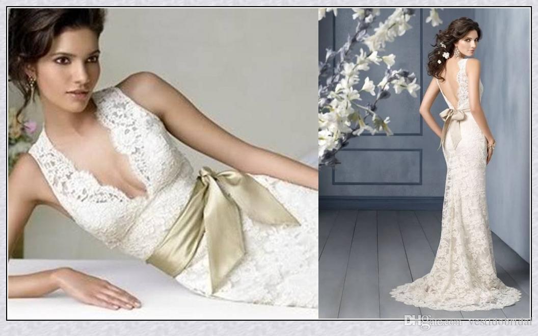 2017 robes de mariée en dentelle pleine dentelle profondes veaux sans manches personnalisées gaine de jardin ouvert arrière-plan sexy blanche gaine sirène robe de mariée