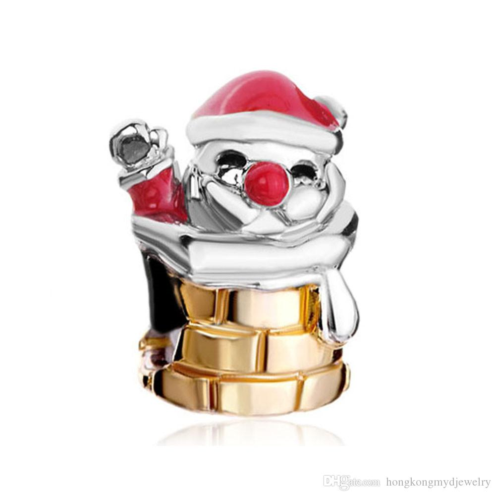 10pcs per lot Rhodium and Gold Plating Merry Christmas Santa Claus European Charm Bead Fit Pandora Bracelet
