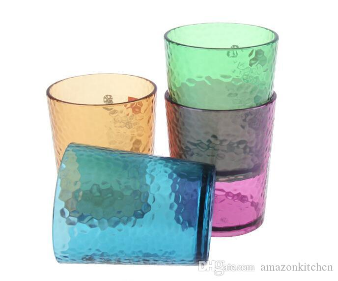 Colorful Water Cup Glass Water Mug Iced Tea Cup Tumblers in 4 Assorted Colors 320ml 11.26OZ
