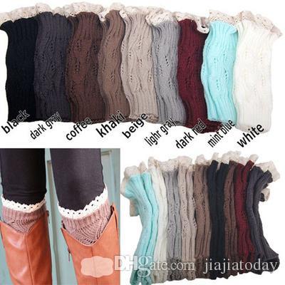 1 lote = 1 par = 2 pcs mulheres Crochet lace boot cuffs artesanal Knit perna mais quente Ballet lace Boot Cuff Polainas Meias de Natal Meias de Inicialização cobre 9 colo