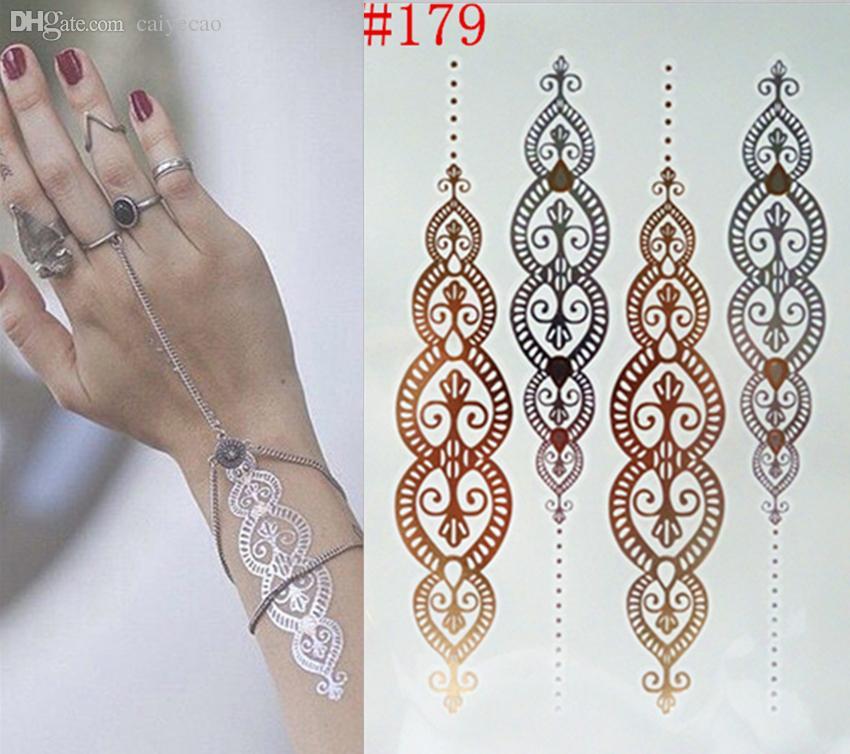 Wholesale-Fashion body art flash metallic temporary tattoos gold tatoos metalic tatoo flash tattoo Body Paint Stickers