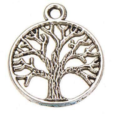 Metall Baum Anhänger Goldbronze Jahrgang Silber Pflanzen Leben des Baum neuer DIY Modeschmuck Accessoires Lieferanten für Schmuck 24 * 20mm 150pcs