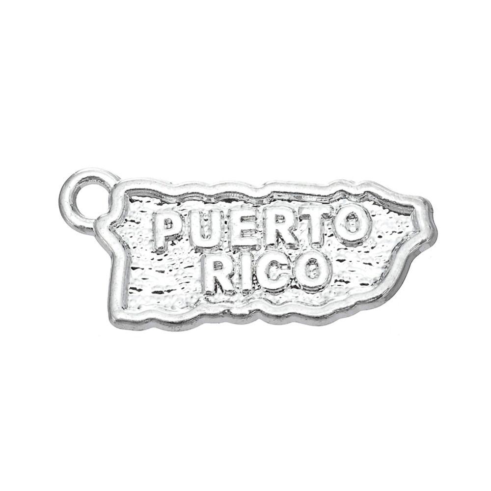 Nova moda 20 pcs Puerto Rico mapa jóias charme jóias fazendo DIY, encantos de metal por atacado