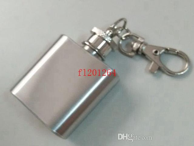 100ピース/ロットフェデックスDHL送料無料レーザー溶接1オンス1オンスステンレススチール製ミニヒップフラスコ付キーチェーン