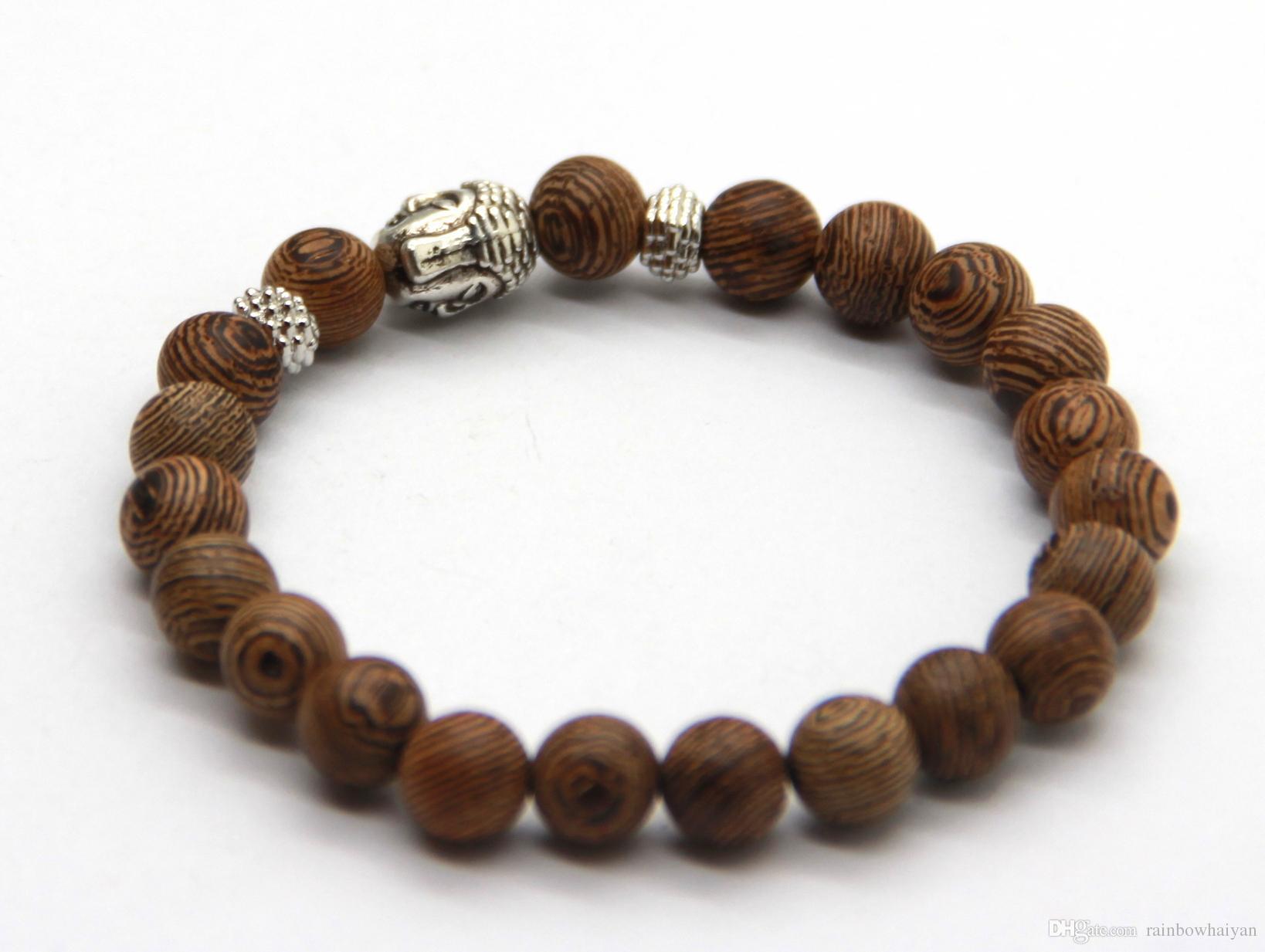 Partihandel gratis frakt 12 stycken / mycket bön mala pärlor naturliga trä armband hög kvalitet buddha huvud pärlor armband smycken
