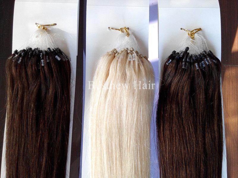 """Inidan Remy первоклассный Micro Ring / Loop 100% человеческих волос 18 """"-26"""" Colo # 2 # 4 и # 613 Свободная перевозка груза DHL"""