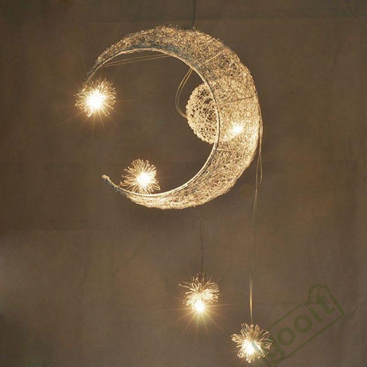 الألومنيوم سلك القمر نجمة مميزة قلادة مصابيح مع 5 أضواء G4 الإضاءة القمر قلادة مصابيح الثريات blubs