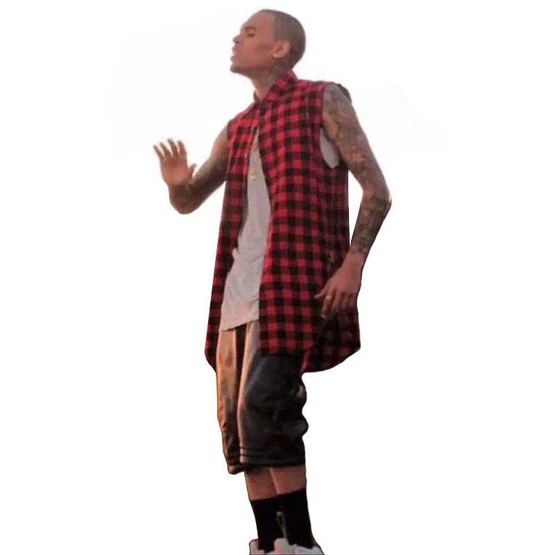 2016 plaid Hip Hop Men Shirt Chris Brown oversized Gold Side Zipper Extended Plaid shirt men casual Red Sleeveless tee shirt (3)