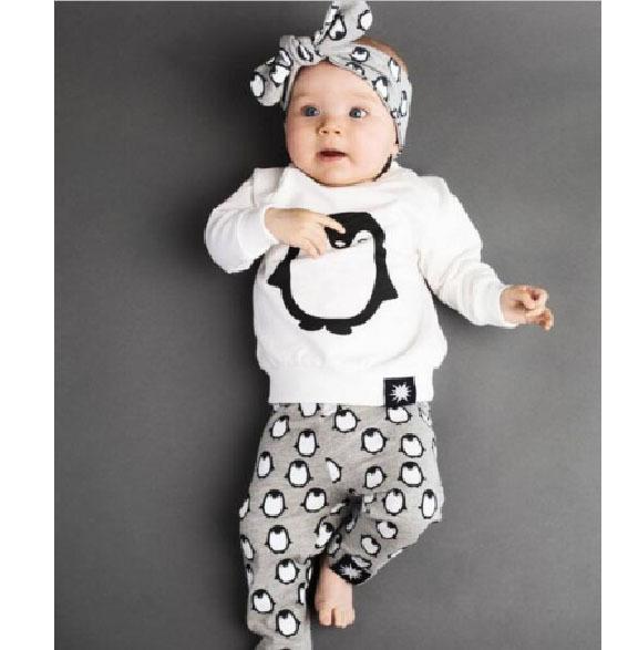 Ins Herbst Frühling Kinder Anzug Baby Kleidung Kleinkind Kleidungsstück 02 Jahre Europäischen Pinguin Druck Langarm Tshirts und Hosen