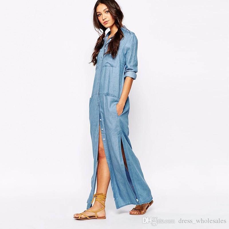 6 Pockets Denim Shirt Dresses Plus Size Button Fly Long Sleeve