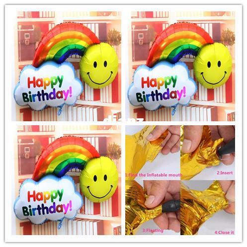 Palloncini foil caldi di moda 98 * 65cm double side Buon compleanno Decorazione di cerimonia nuziale Sorriso di grandi dimensioni Viso arcobaleno Globos palle Buona giornata