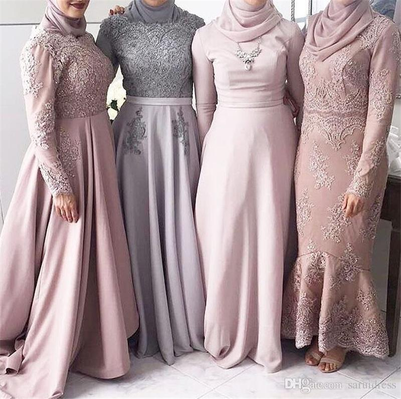 High Neck Muslim High Neck Long Sleeves Grey Bridesmaid Dress with Kerchief Applique Lace A-line Wedding Party Dresses