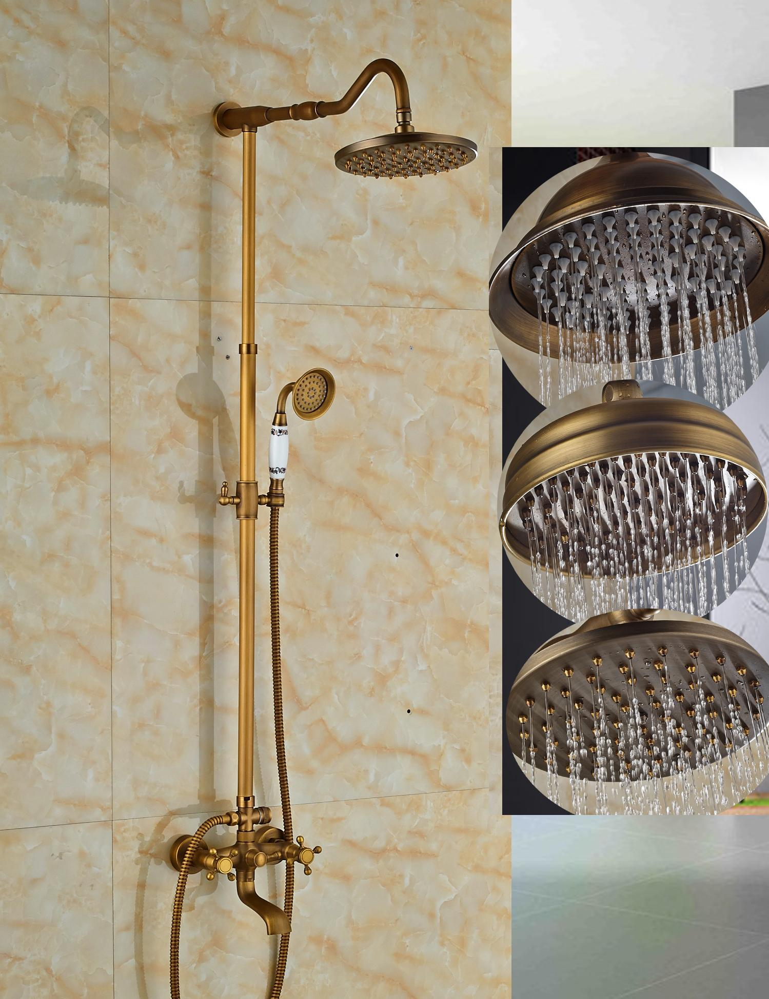 2019 Wholesale And Retail Antique Brass Rain Shower Faucet Wall Mounted 8 Sprayer Tub Spout Dual Cross Handles From Gonglangno1 180 91 Dhgate Com