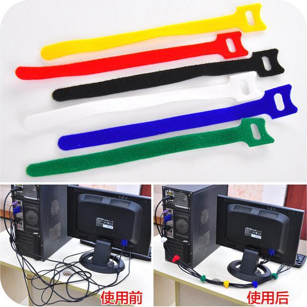 10st / lot gratis frakt nylon magisk band headset linje / hörlurar kabel organador / kabel arrangör för iPhone hörlurar jf3