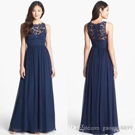 Dark Navy Blue Wedding Guest Bridesmaid Dresses Lace Chiffon Sheer Neck Plus Size Summer Maid of Honor Country Boho Bridesmaid Chowns Billiga