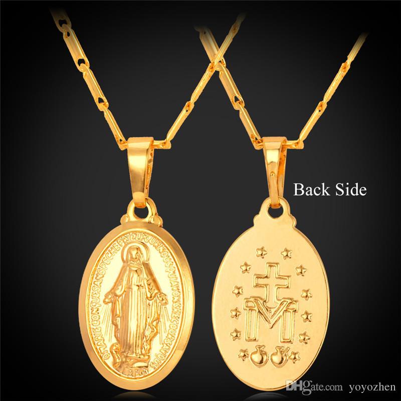 Virgin Mary Pendant Halsband 18k Real Gold / Platinum / Rose Guldpläterad Kors Symbol Jesus Piece Smycken