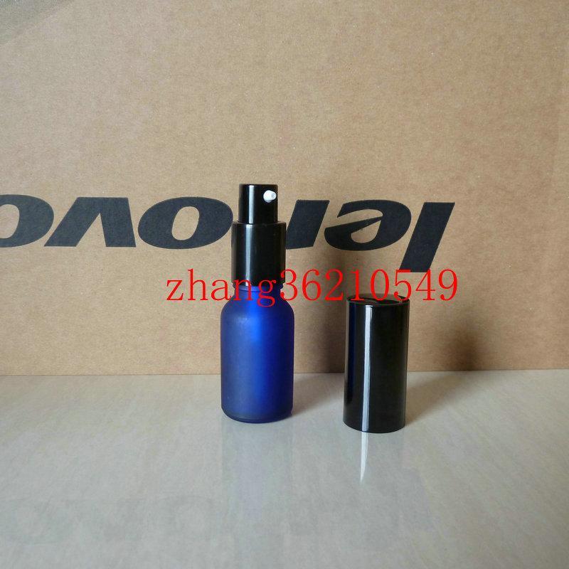 15ml 블루 서리로 덥은 유리 로션 병 알루미늄 반짝이 검은 pump.for 로션과 에센셜 오일. 로션 크림 용기