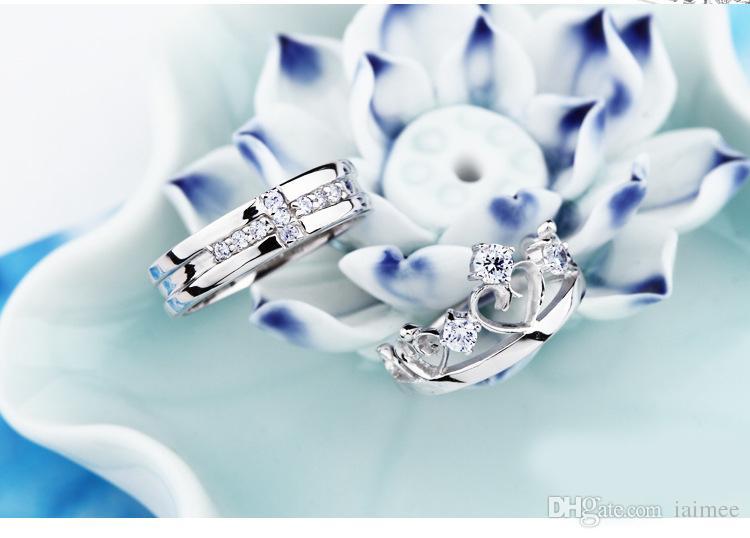Femmes 925 Argent Blanc Aurora Borealis Zircon Baisse Collier Pendentif Mariage Bijoux