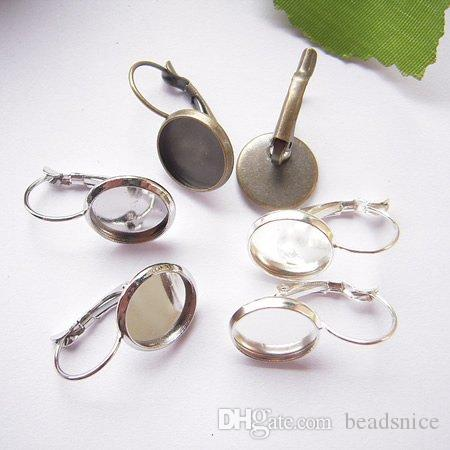 Beadsnice Brassフレンチレバーバックイヤリングベース空白検索DIYイヤリングファッションフィット10mmガラスカボションID6334