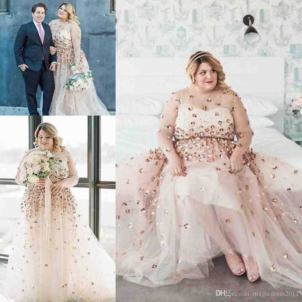 Discount Plus Size Long Sleeve Wedding Dresses 2019 Modest Shiny 3D Floral  Champagne Sheer Neck Country Garden Wedding Gowns Robe De Mariée Latest ...