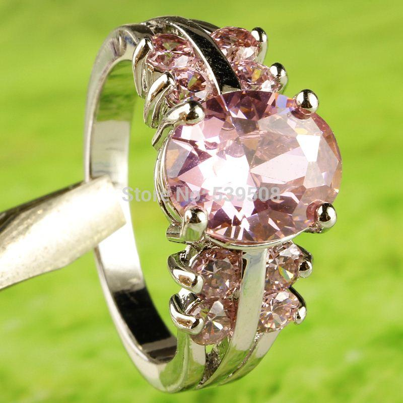 Beautiful Feminine Jewelry Wholesale Princess Cut Pink Sapphire 925 Silver Ring Size 8 Free Shipping