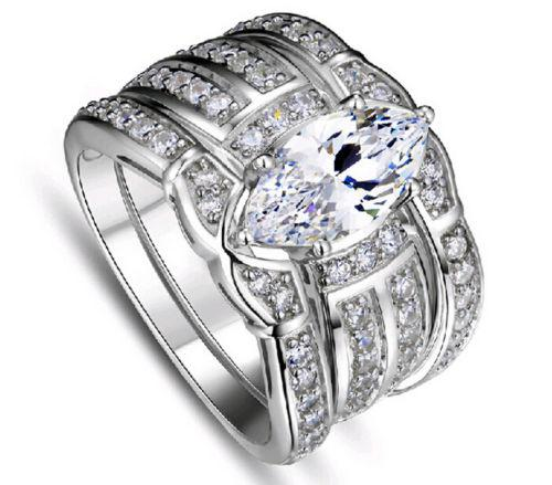 حجم 5/6/7/8/9/10 مجوهرات الرجعية 14kt الذهب الأبيض معبأ توباز الكمثرى مقلد الماس المرأة خاتم الزواج مجموعة (3in 1) هدية مع مربع