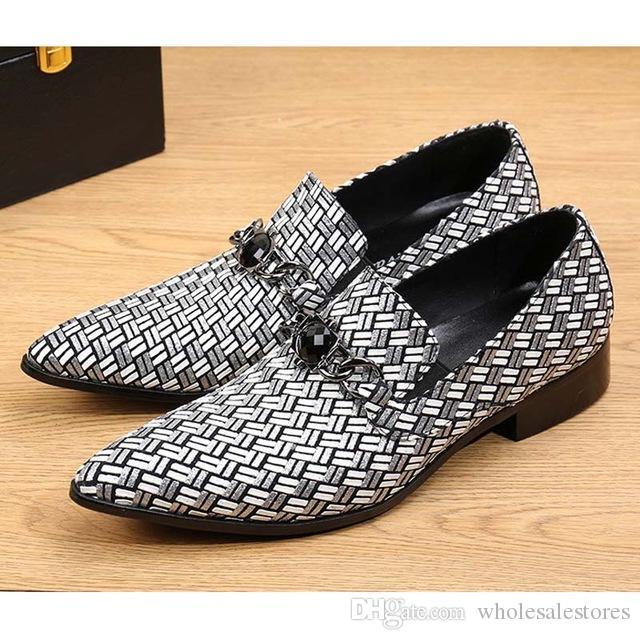 New Fashion Echtes Leder Männer Wohnungen Gemischte Farbe Plaid Hochzeit Kleid Schuhe Männer Slip On Big Size Spitz Müßiggänger