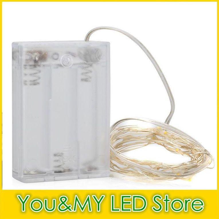 Edison2011 Free DHL 4.5V 10M Operado por batería LED LED de cobre Cadena de Cadena Hada Iluminación Blanco Rojo Amarillo Azul Verde Navidad Decoración