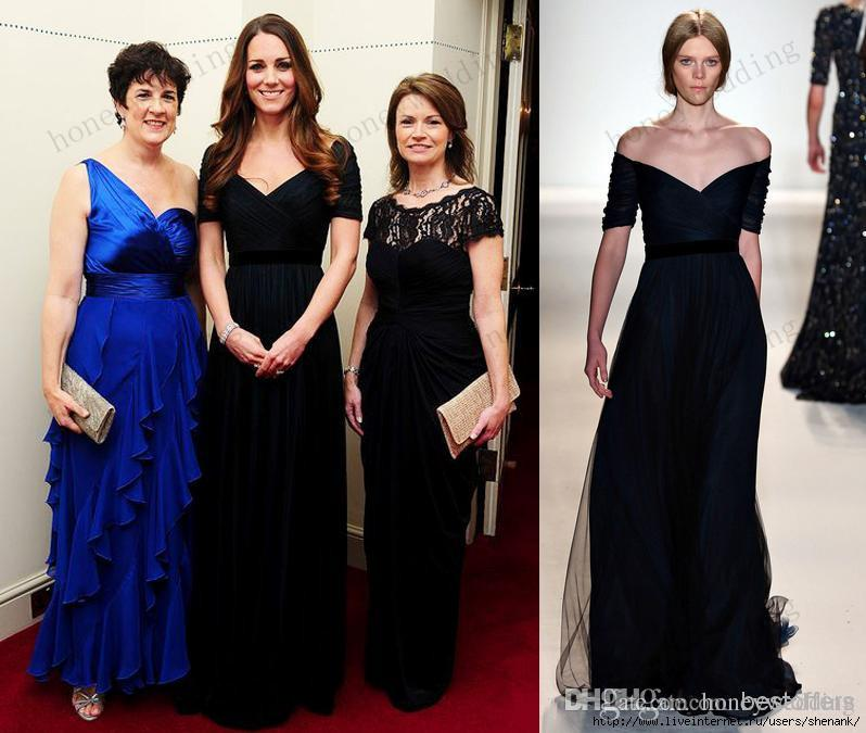 Kate Middleton Elie Saab Prom Gown With V Neck Pleat Bodice A Line Mother Of The Bride Dresses Navy Blue Tulle Evening Dresses