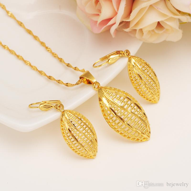 Ethiopian Set Jewelry Necklace pendant Earrings Eritrea ethnic jewelry Habesha Set For Girl Gold African Bridal Sets best gift