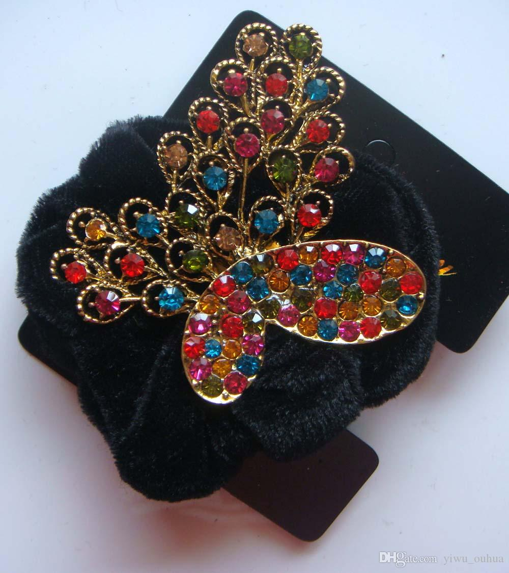 Vintage hair accessory holder -  Wholesale Vintage Hair Jewelry Pony Tails Holder Rhinestone Headbands Hair Accessories Mixed Color R 22